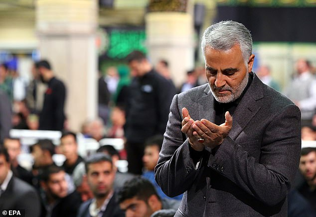Iranian Revolutionary Guards Corps Lieutenant General and Commander of the Quds Force Qasem Soleimani praying during a religious ceremony in Tehran in March 2015