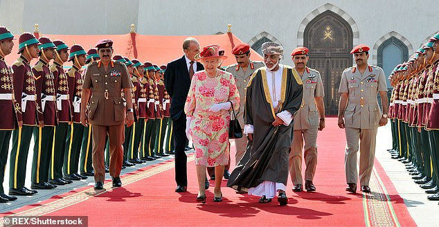 Western-backed Qaboos had ruled the Gulf Arab state since he took over in a bloodless coup in 1970 with the help of Oman's former colonial power Britain. Pictured: The Queen with Qaboos in 2010