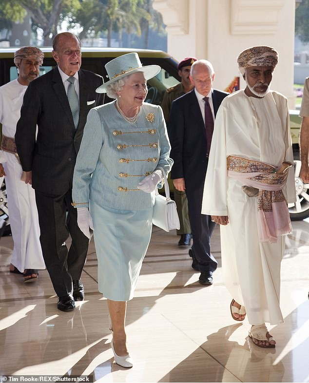 Qaboos - who was unmarried and had no children or brothers - had not publicly appointed a successor. Pictured: The Queen and Qaboos in 2010