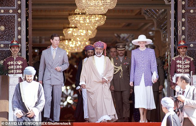 Prince Charles and Princess Diana with Sultan Qaboos in November 1986