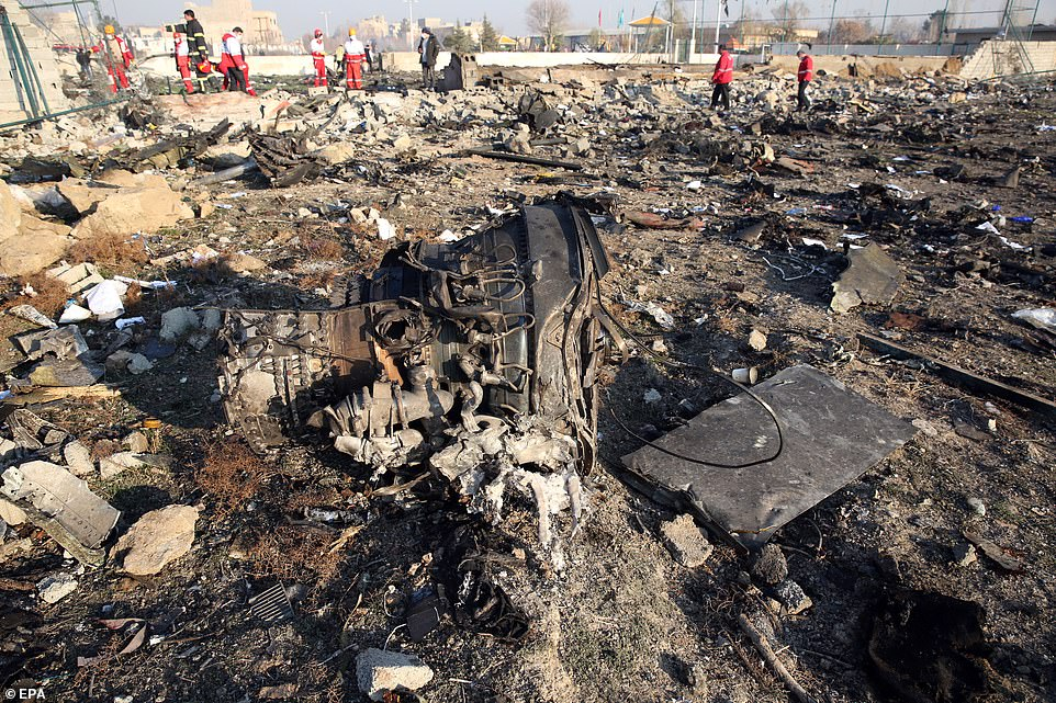 One of the engines of the plane lies among the wreckage - as its French manufacturer said it was too early to say what caused the crash