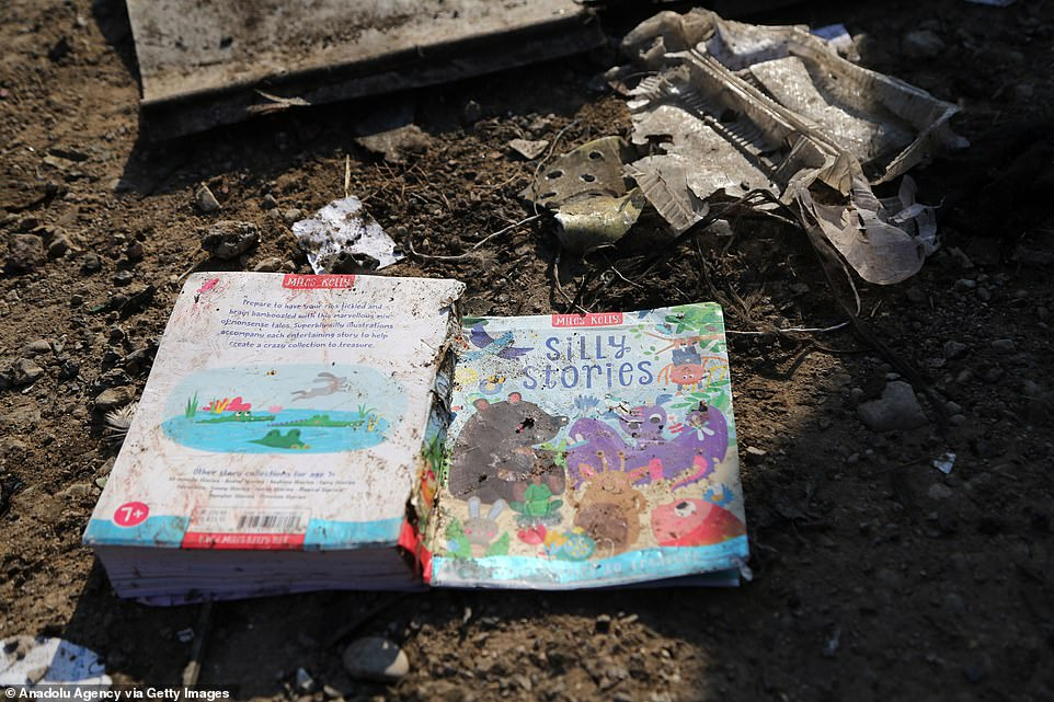 Debris at the crash site included English-language books, amid reports that Canadians and Britons were killed in the crash