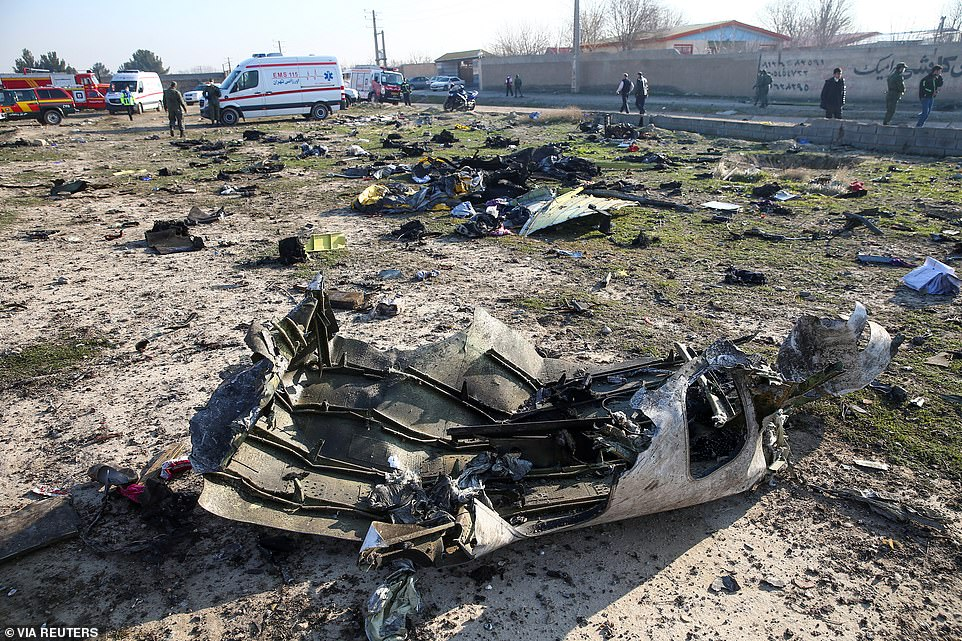 Debris of a plane belonging to Ukraine International Airlines which had been checked just days before it crashed