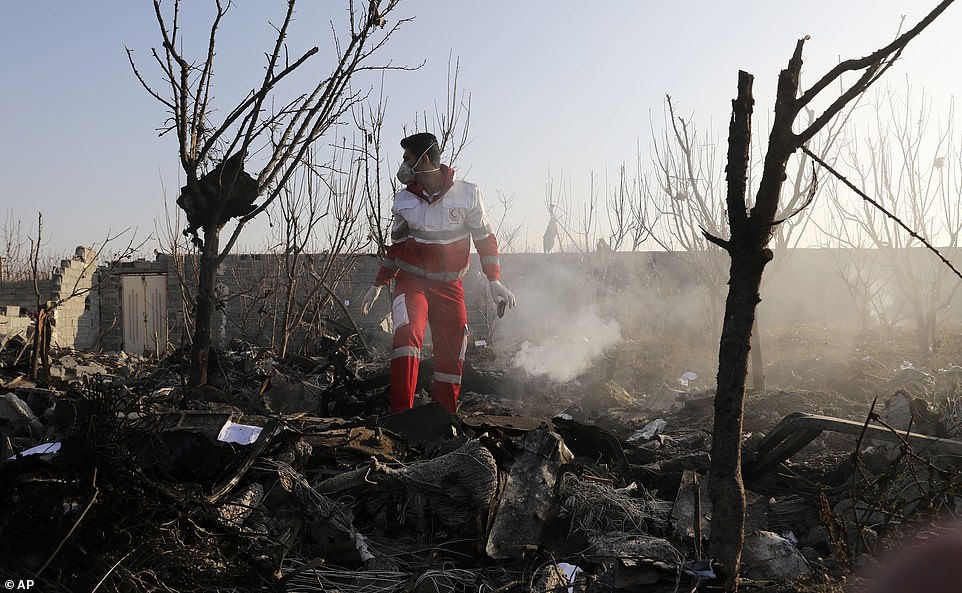 A rescue worker searches the scene where an Ukrainian plane crashed in Shahedshahr, south-west of the capital Tehran