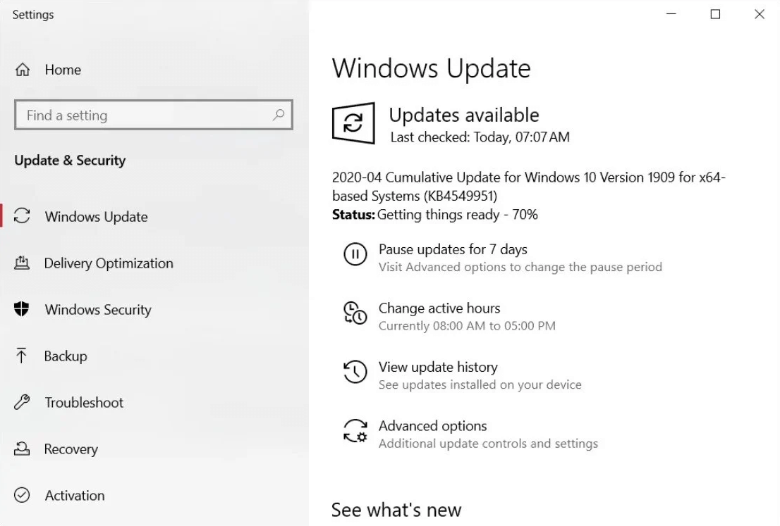 Windows 10 update KB4549951